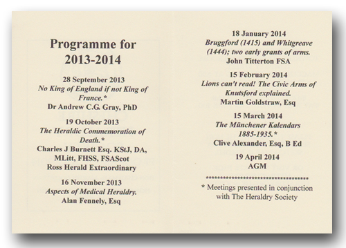 The Cheshire Heraldry Society Programme 2013 - 2014