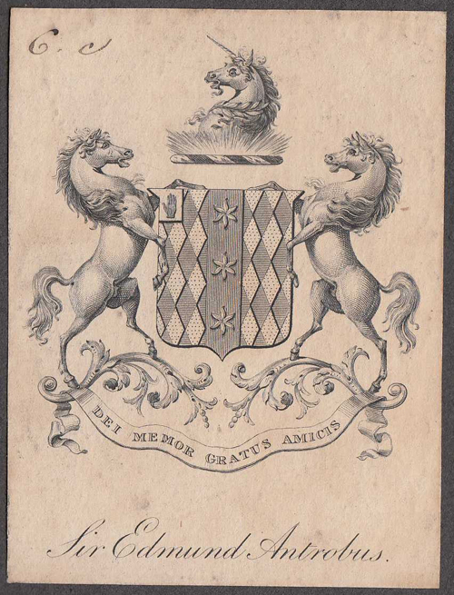 Bookplate of Sir Edmund Antrobus Bt.
