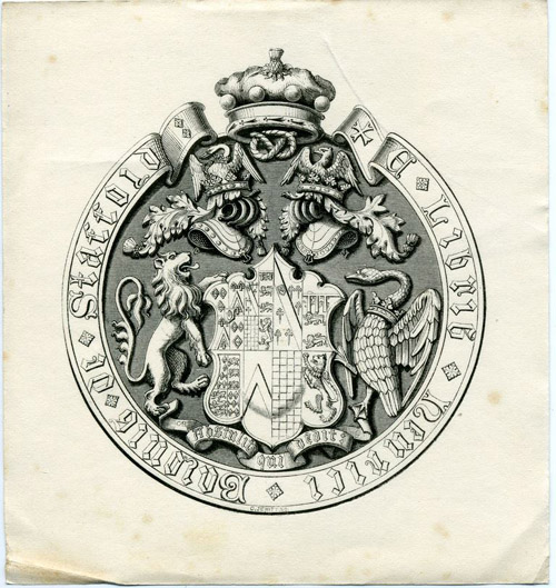 Bookplate of Henry Valentine Stafford-Jerningham, 9th Baron Stafford